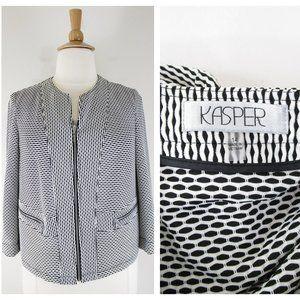 Kasper Plus Sz Black White Full Zip Blazer Jacket